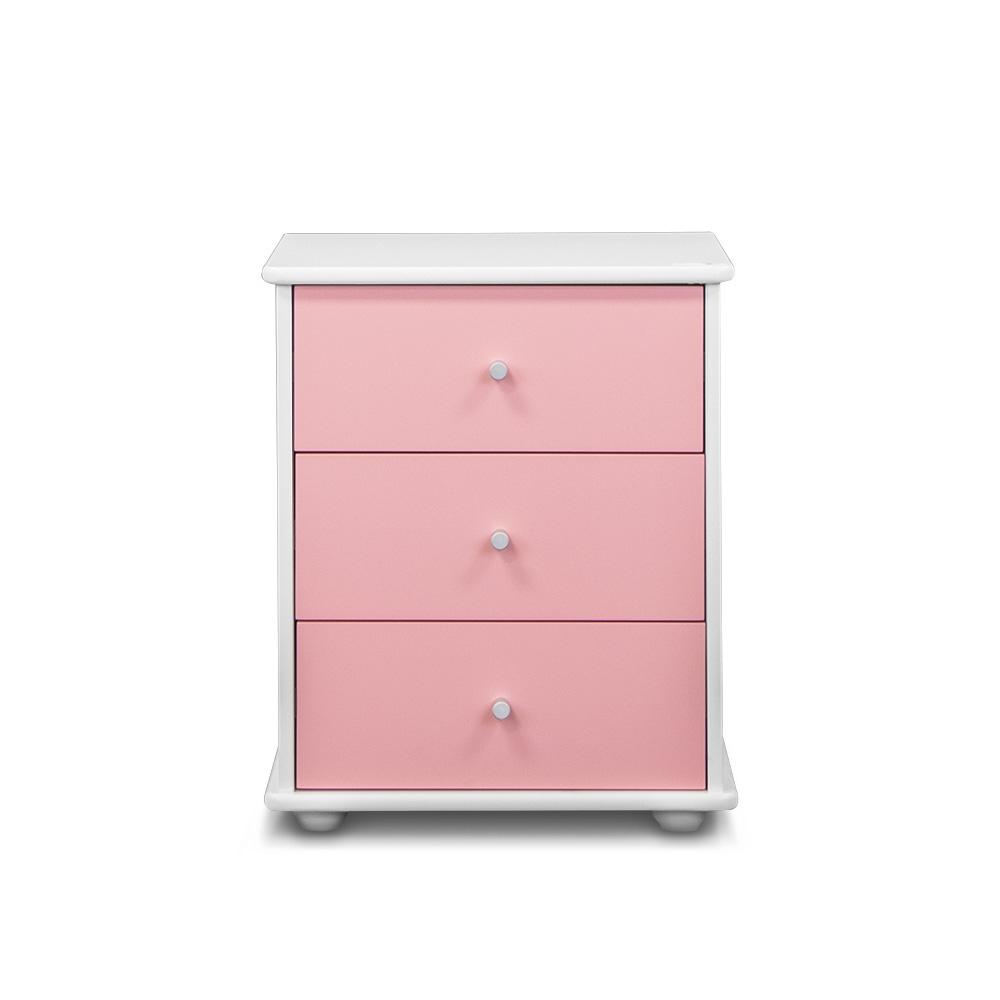 Carnival 3 Drawer Bedside, Pink